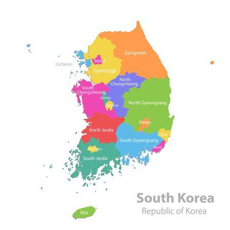 Carte de la Corée du Sud, République de Corée, division administrative avec les noms d'état, carte de couleur isolée sur fond blanc vecteur Vecteurs
