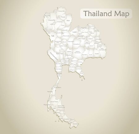 Thailand map, administrative division with names, old paper background vector