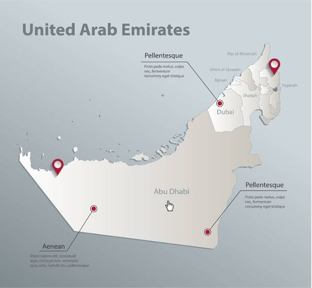 United Arab Emirates map, administrative division with names, blue white card paper 3D vector