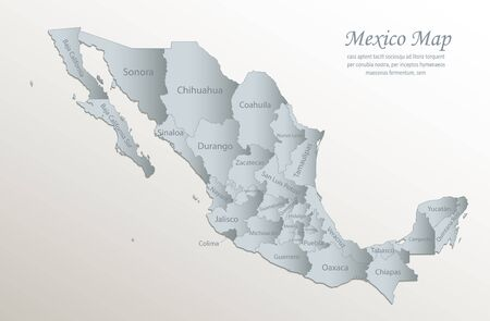Mexico map, administrative division with names, white blue card paper 3D vector Stock Illustratie