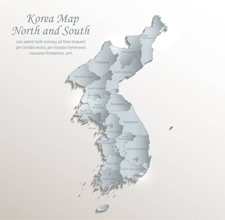 Korea map north and south, administrative division with names, white blue card paper 3D vector