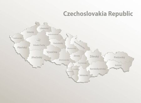 Czechoslovakia Republic map administrative division, separates regions and names individual region, card paper 3D natural vector