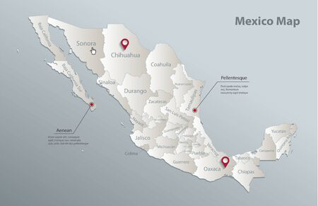 Mexico map, administrative division with names, blue white card paper 3D vector
