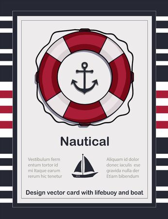 Nautical card template with lifebuoy vector, swimming ring