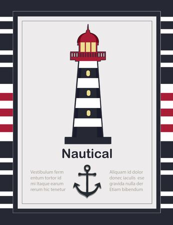 Nautical card template with Lighthouse vector
