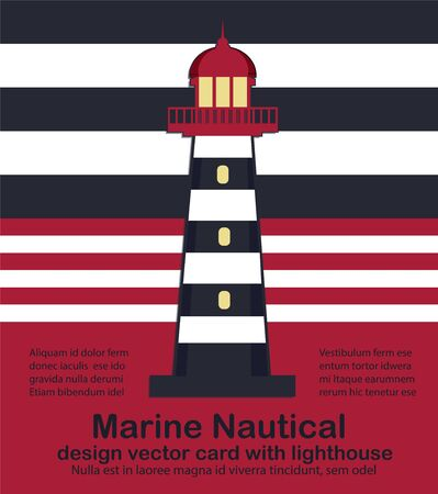 Nautical design card with Lighthouse vector