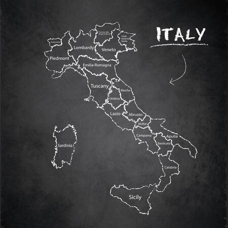 Italy map administrative division separates regions and names individual region, design card blackboard chalkboard vector