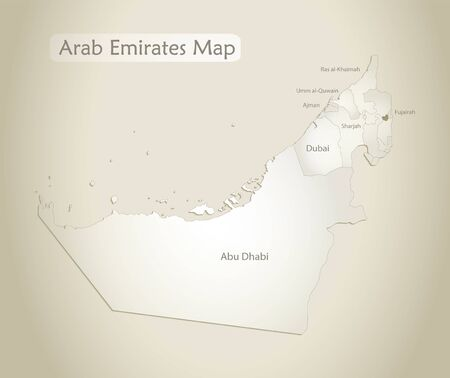 United Arab Emirates map, administrative division with names, old paper background vector