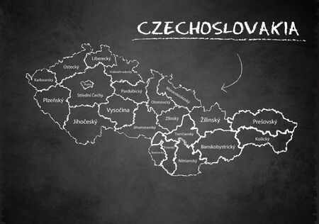 Czechoslovakia map administrative division separates regions and names, design card blackboard chalkboard vector