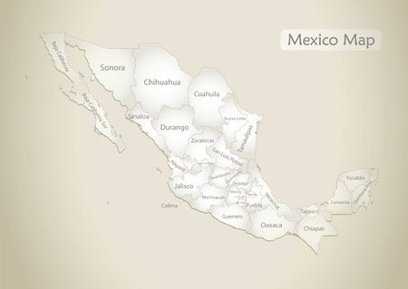 Mexico map, administrative division with names, old paper background vector