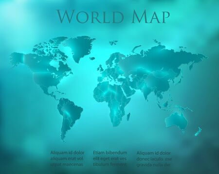 World map blue turquoise sky with separate states and glowing neon light vector