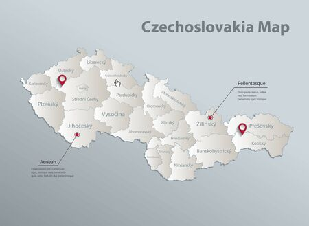 Czechoslovakia map, administrative division with names, blue white card paper 3D vector  イラスト・ベクター素材