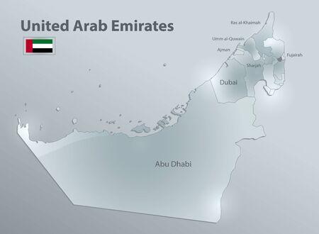 Mappa degli Emirati Arabi Uniti con bandiera, divisione amministrativa e regione dei nomi, vettore 3D di carta di vetro di design