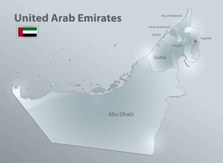 United Arab Emirates map with flag, administrative division and names region, design glass card 3D vector
