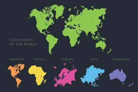 Mappa dei continenti del mondo, America, Europa, Africa, Asia, Australia, isolata su sfondo blu scuro vettore