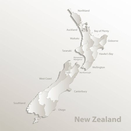 New Zealand map, administrative division, separates regions and names, card paper 3D natural vector
