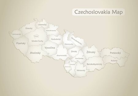 Czechoslovakia map, administrative division with names, old paper background vector