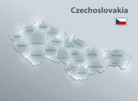 Czechoslovakia map, administrative division separates regions and names, design glass card 3D vector