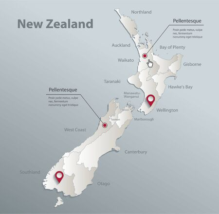 New Zealand map, administrative division with names, blue white card paper 3D vector