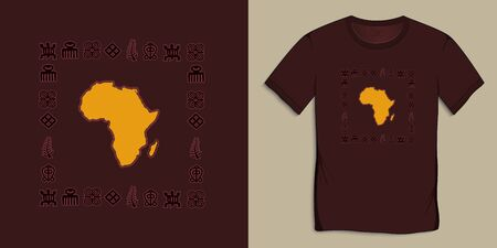 Print on t-shirt graphics design, Africa Map with Adinkra symbols, African hieroglyphs motive image, isolated on background vector Ilustrace