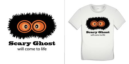Print on t-shirt graphics design, poltergeist motive image, text with the words Scary Ghost will come to life, isolated on background vector
