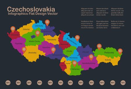 Infographics Czechoslovakia map, flat design colors, with names of administrative division, blue background with orange points vector