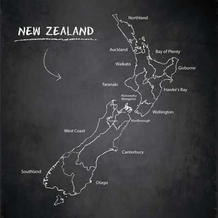 New Zealand map, administrative division separates regions and names, design card blackboard chalkboard vector