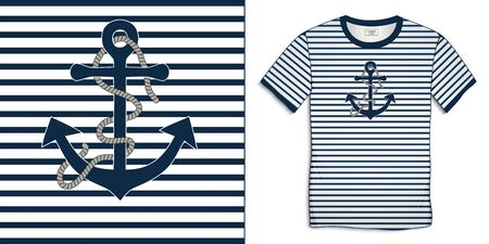 Print on t-shirt graphics design, motive image shirt sailor stripes with anchor and rope, isolated on background vector Ilustrace