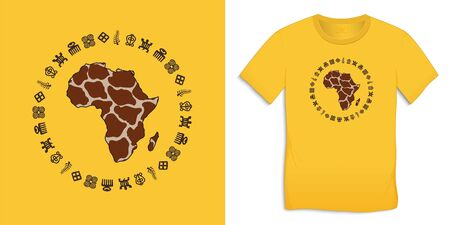 Print on t-shirt graphics design, Africa Map Globe with Adinkra symbols, African hieroglyphs yellow motive image, isolated on background vector Ilustrace