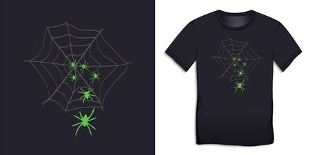 Print on t-shirt graphics design, spider web with spiders, isolated on background vector Ilustrace