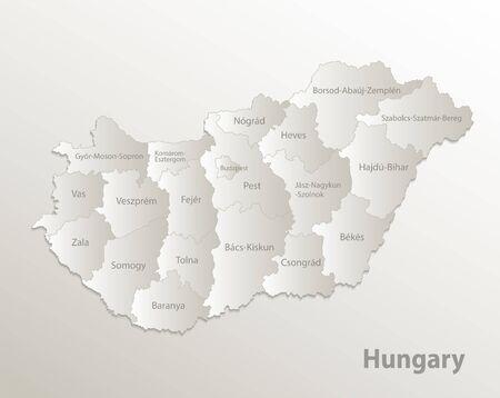 Hungary map administrative division, separates regions and names individual region, card paper 3D natural vector Ilustração