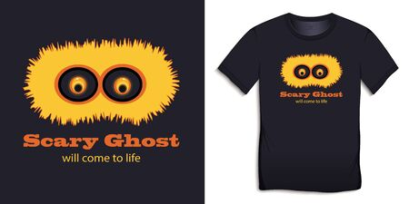 Print on t-shirt graphics design, yellow spook with big eyes, text with the words Scary Ghost will come to life, isolated on background vector