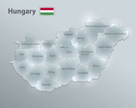 Hungary map and flag, administrative division, separates regions and names individual region, design glass card 3D vector
