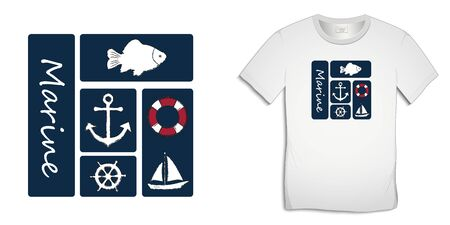Print on t-shirt graphics design, nautical icons collections anchor, fish carp, sailing boat, rudder, lifebuoy, isolated on white background vector Vector Illustratie