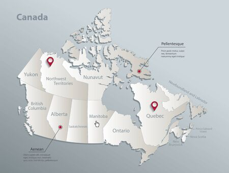 Canada map, administrative division with names, blue white card paper 3D vector