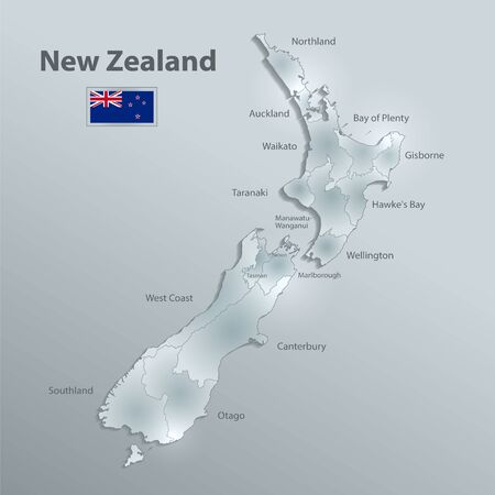 New Zealand map and flag, administrative division separates regions and names, design glass card 3D vector