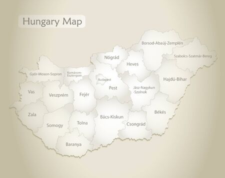 Hungary map, administrative division with names, old paper background vector