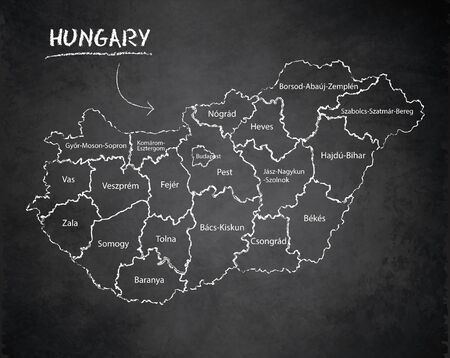 Hungary map administrative division, separates regions and names individual region, design card blackboard chalkboard vector