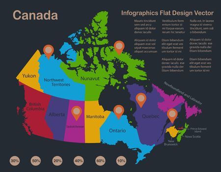 Infographics Canada map, flat design colors, with names of individual states and islands, blue background with orange points vector