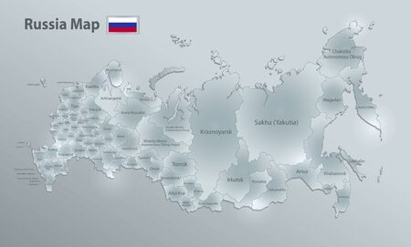 Russia map and flag, administrative division separates regions and names, design glass card 3D vector Ilustração
