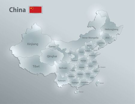 China map and flag, administrative division, separates regions and names, design glass card 3D vector