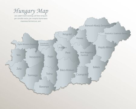 Hungary map, administrative division with names, white blue card paper 3D vector Çizim