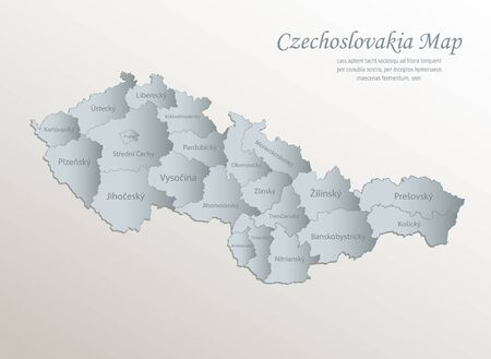 Czechoslovakia map, administrative division with names, white blue card paper 3D vector