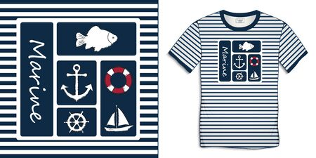 Print on t-shirt graphics design sailor stripes, nautical icons collections anchor, fish carp, sailing boat, rudder, lifebuoy, isolated on white background vector