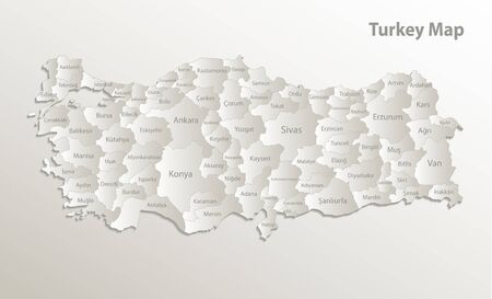 Turkey map, administrative division, separates regions and names, card paper 3D natural vector