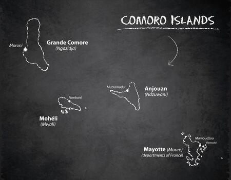 Comoro Islands map, design card blackboard chalkboard vector Ilustracja