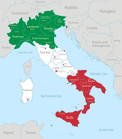 Italy map in flag colors with neighboring states, administrative division and names with cities vector