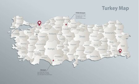 Turkey map, administrative division with names, blue white card paper 3D vector
