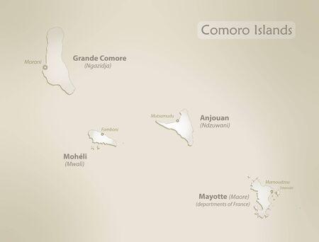 Comoro Islands map, old paper background vector