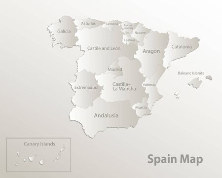 Spain map administrative division, separates regions and names, card paper 3D natural vector Иллюстрация